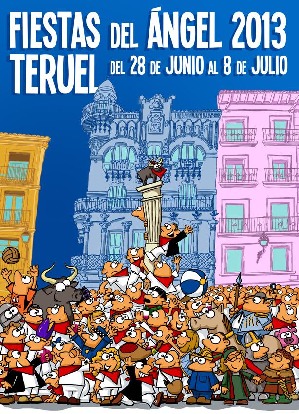 Cartel fiestas Teruel 2013, Fiestas del Angel, Vaquillas - Veintiocho